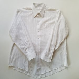Christian Dior White Striped Dress Shirt 17 34-35